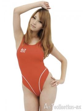 【Lサイズ】薄々競泳水着 (ホットレッド)