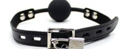 シリコン口枷 鍵付き (黒)