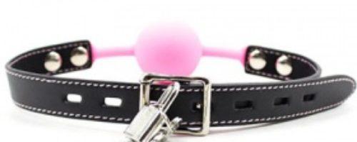 シリコン口枷 鍵付き (ピンク)